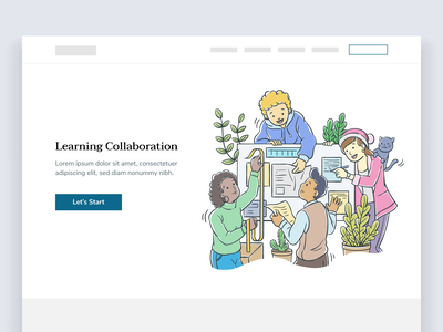 School Learning Collaboration - Vector Illustration vector plant jacket university college learning education landing page cat diversity warm website student collaboration sticky notes white board school people doodle illustration
