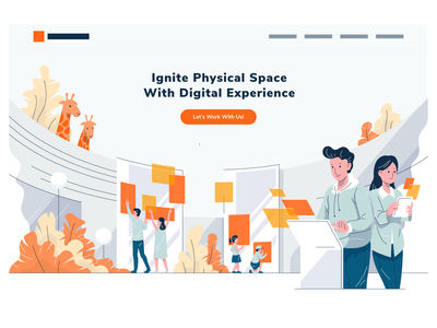 Physical Space Digital Experience Company Website landing page technology touch screen children kids boy girl giraffe multitouch tablet touch table interaction interactive wall augmented reality strokes line simple flat illustration