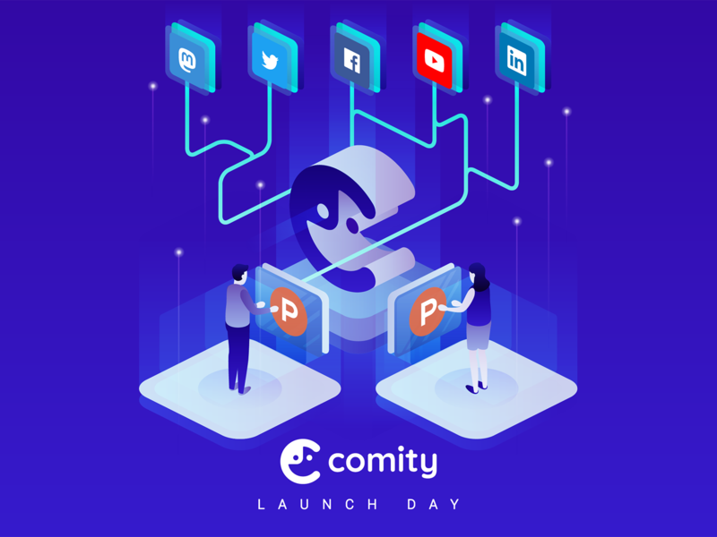 Comity Launch Day vector flat people shopify minimalist stars platform technology isometric producthunt launch linkedin youtube facebook twitter mastodon social media ecommerce simple illustration