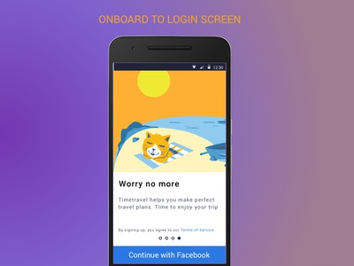 Onboarding screen to Login with Facebook