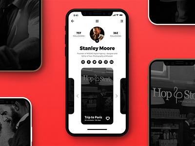 User profile screen minimalistic minimal media social iphone ui daily screen profile user