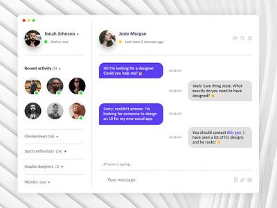 Direct Messaging #013 shot challenge messenger clean fluent window chat messaging interface user daily