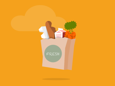 Fresh Groceries bag eggs bread milk carrots food