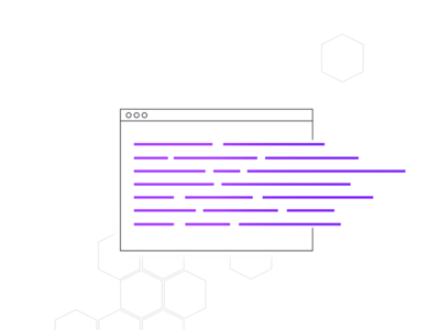 Terraform Infrastructure As Code Graphic hexagon line purple terminal code terraform