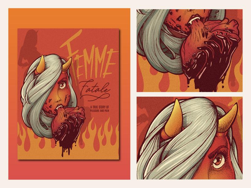 Femme Fatale photoshop vector typography poster art illustration design poster
