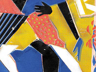 Partners collage dance halftone texture