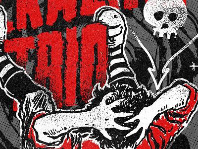 Ego Death skull illustration vintage texture trio alkaline merch band