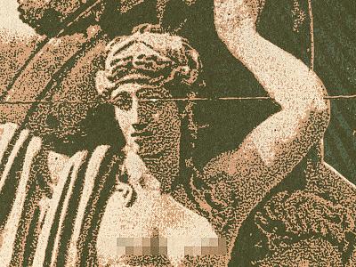 Heavy Burdens statue postcard vintage texture grit
