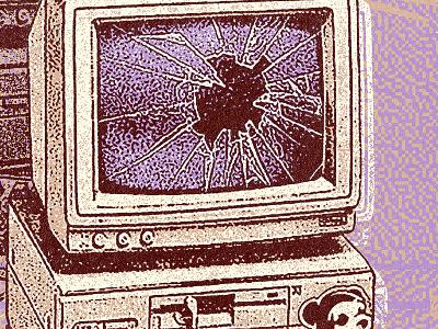 Priority smash computer illustration stamp vintage texture grit