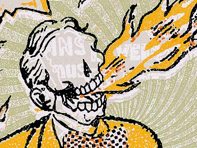 Heartburn bow tie heartburn skull flame illustration offset vintage
