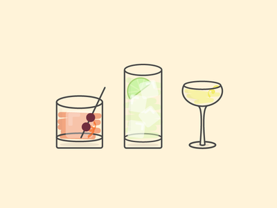 A Trio of Classic Cocktails flat icon illustration vector cocktail gin and tonic old fashioned 100 days