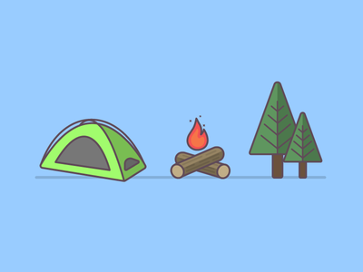 Camping Trio flat icon illustration vector camp backpacking camping campfire fire tree tent 100 days