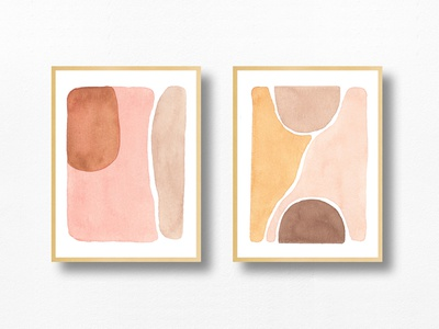 """""""Down in the Valley"""" Watercolor Prints minimal neutrals desert abstract design abstract art abstract modern art art watercolor painting painting watercolor illustration"""