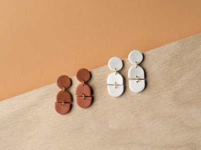 Brooke Creative Co. Earring Designs product design product photography modern minimal earring design clay earrings jewelry