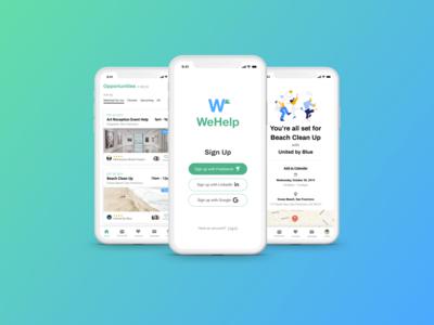 WeHelp – a concept app for finding volunteer opportunities