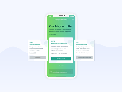 Mobile Employee Onboarding Redesign carousel profile employee design mobile app product ux onboarding mobile ui mobile design product design uiux ui