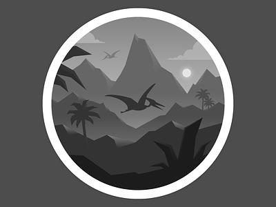 Dark age dinosaur vector illustration