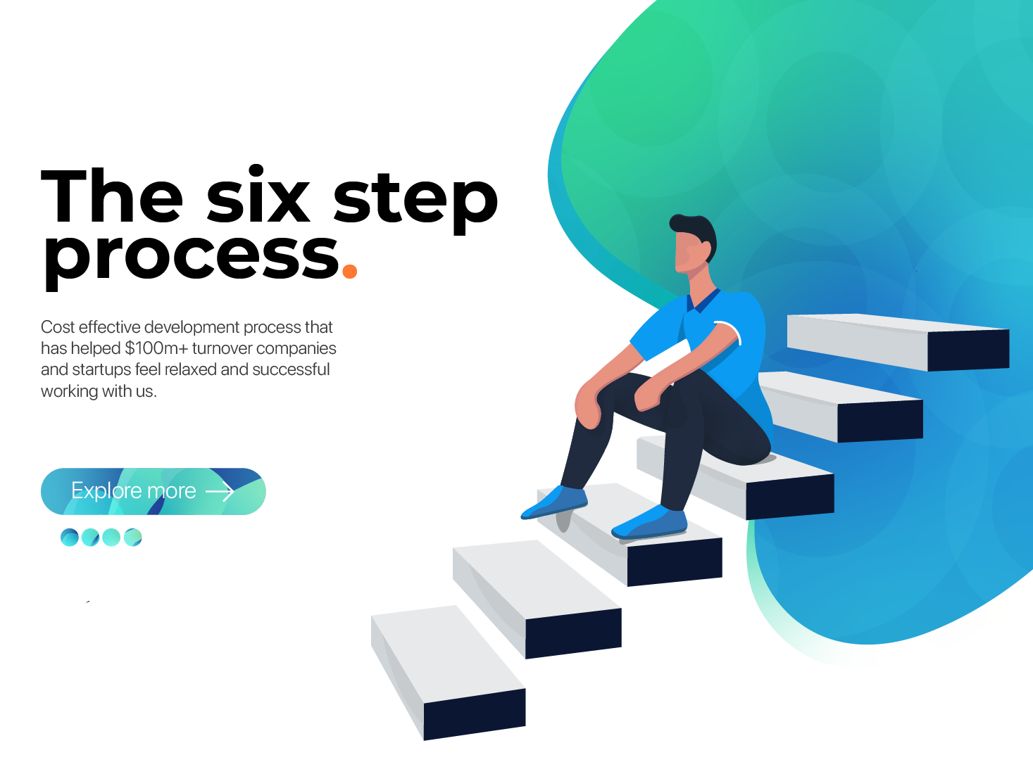 Six Step Process stairs human process landing page landingpage website ux design ui design uidesign uxdesign ux uiux ui illustration