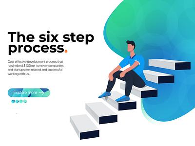 Six Step Process stairs human process landing page landingpage website ux design ui design uidesign uxdesign ux uiux ui illustration