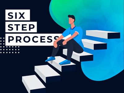 SSP - Six Step Process Final Edition landingpage homepage characterdesign chill relax sitting character stairs ui design human illustraion uiux ui