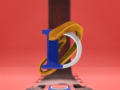 Letra D experimental desing 3d design alphabet type 36daysoftype 3d animation c4d motion cinema 4d animation motion graphics