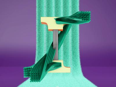 Letra I illustration design alphabet 36daysoftype 3d animation animation motion graphics c4d after effects
