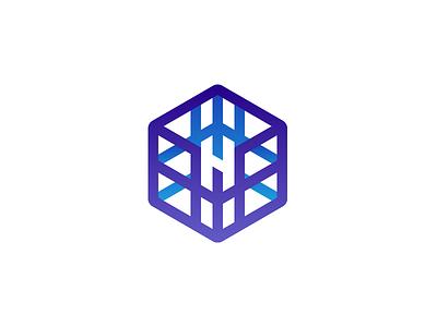 Hymart symbol icon social media line art gradient typography vector design lettermark logomark negative logo branding logo design