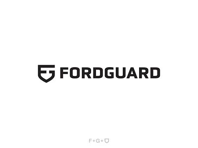 Fordguard + Wordmark icon design vector lettermark negative logo branding logo design shield logo shield