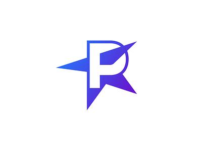 Polestar gradient icon design vector negative logo logo design branding lettermark p star