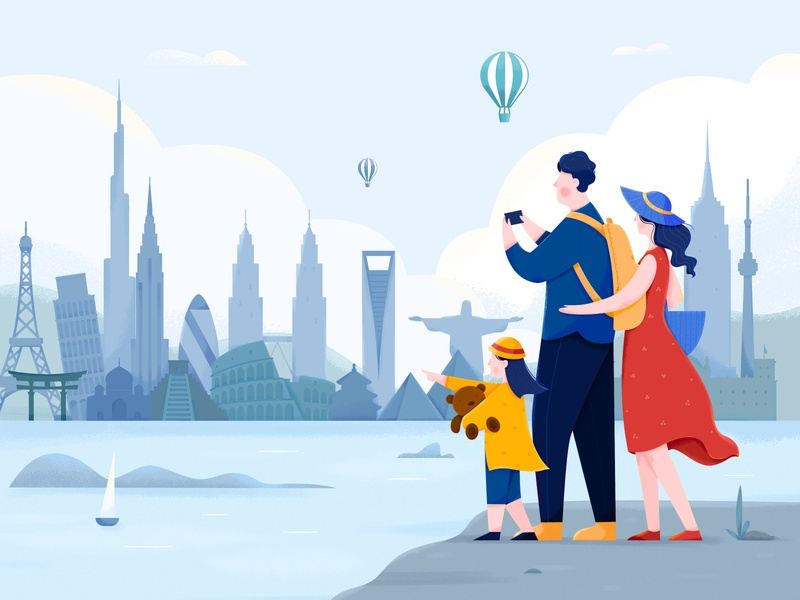 Travel landscape child family building world landmark city journey trip travel woman girl affinity designer uran boy man people character illustration design