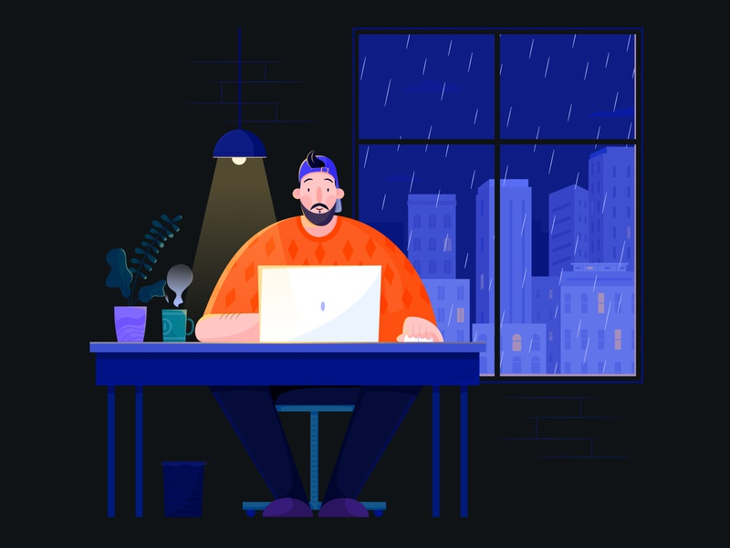 Work Hard night studio house building city laptop code developer development design business office work affinity designer uran boy man people character illustration