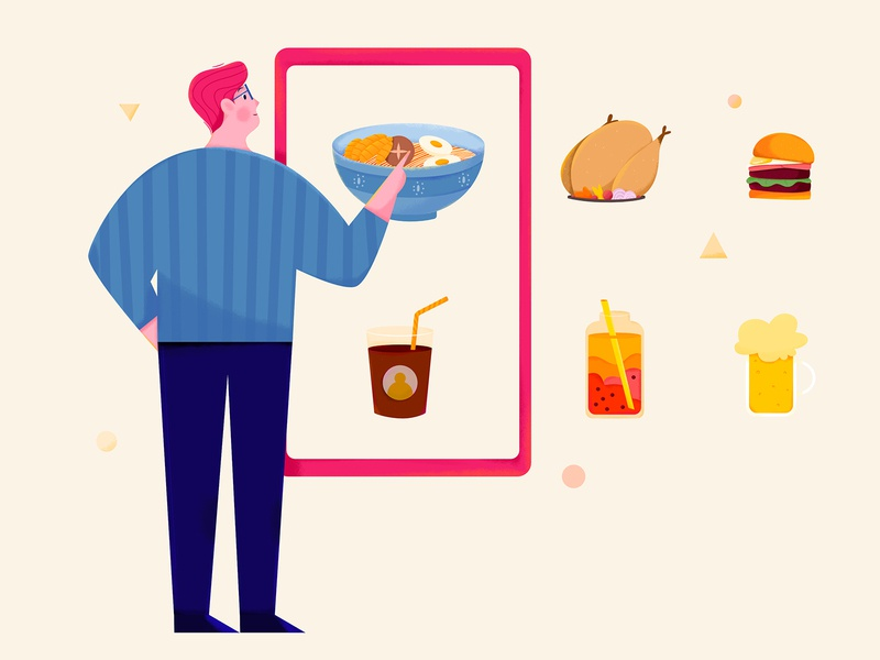 Meal Selection choose select customer phone drink beer hamburg chicken noodle dinner eat food meal affinity designer uran boy man people character illustration