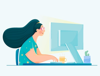 Data Science jumpstart play coffee remote indoor plant clock computer home house business office work woman girl uran people character illustration affinity designer