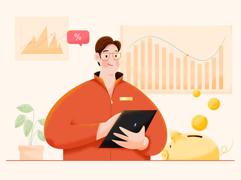 Finance data chart piggy bank bank pig money finance noise texture design business office work affinity designer uran boy man people character illustration