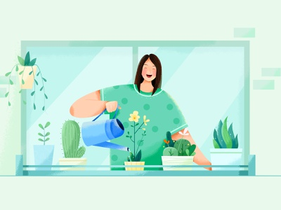 Operations operation grow happy green lady window grass plant flower water business office work woman girl affinity designer uran people character illustration