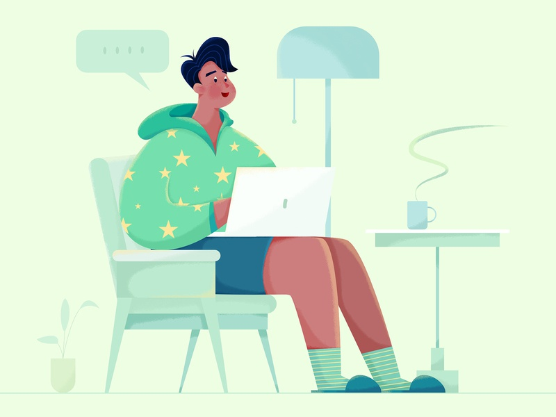 Remote Working green freelance freelancer developer computer laptop remote indoor house home business office work affinity designer uran boy man people character illustration