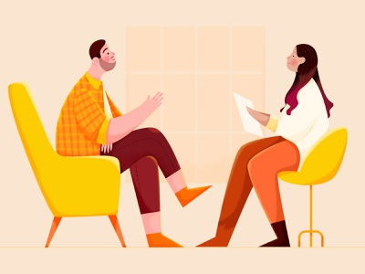 Ask a Recruiter team noise texture report talk chat ask recruiter business office work woman girl affinity designer uran boy man people character illustration