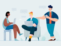 Team friends meeting chat collaboration laptop colleague mate teammates team office work woman girl affinity designer uran boy man people character illustration