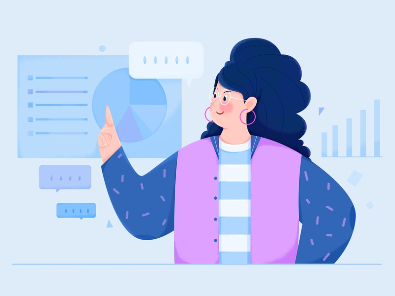 Data Science vector blue science diagram info chart data texture noise lady business office work woman girl affinity designer uran people character illustration