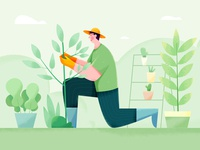 Gardener farm job texture noise water green outdoor plant tree grass grow garderner gardern affinity designer uran boy man people character illustration
