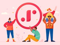 Jumpstart together combine studio company collaboration jumpstart group mate team business work woman girl affinity designer uran boy man people character illustration
