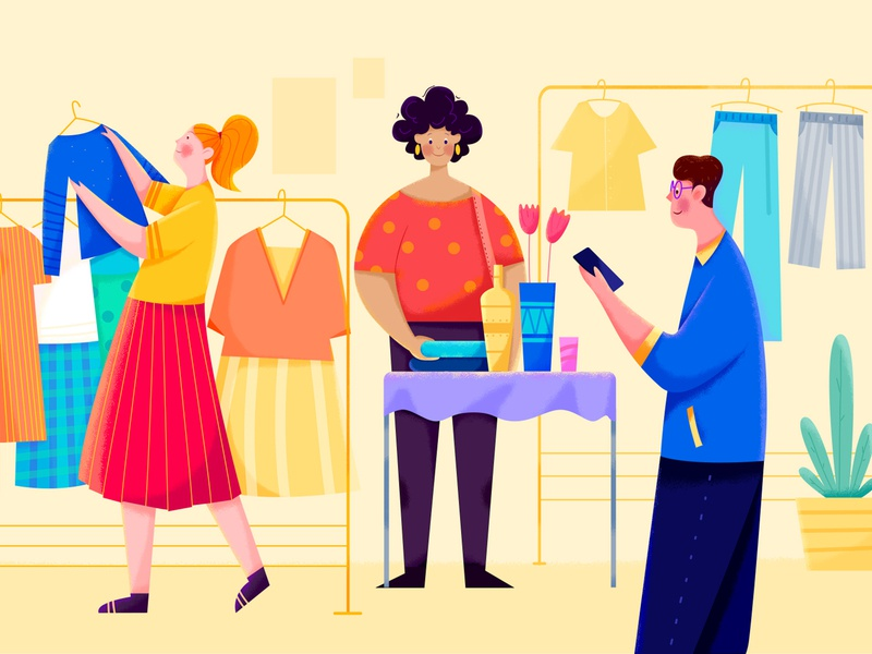 Flea Market street clothing store shop texture noise sale seller cloth market flea market woman girl affinity designer uran boy man people character illustration