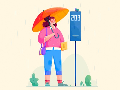 Waiting in the rain noise flat vector plant rainy lady outdoor bird umbrella wait stop bus rain woman girl affinity designer uran people character illustration