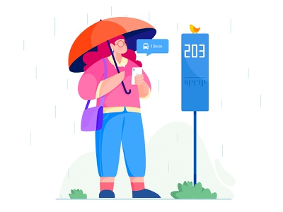 Waiting in the rain - 2 business work nature ourdoor bus stop bird umbrella rainy rain wait flat vector woman girl affinity designer uran people character illustration