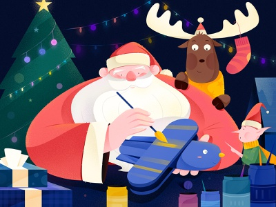 Merry Christmas! new year children child toy night present gift fairy deer christmas merry christmas merry xmas work affinity designer uran man people character illustration