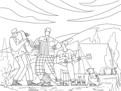 Bonfire party vector night dog band music friends party tent nature outdoor bonfire campfire camp affinity designer uran boy man people character illustration