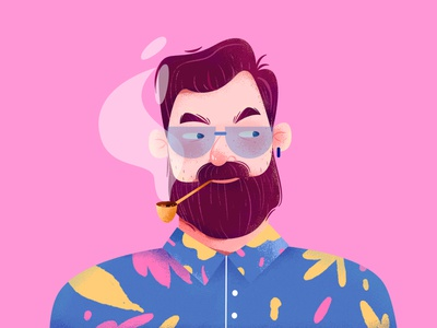 Avatar Illustration 2 portrait profile avatar fashion old man smoke cool color pink role person affinity designer uran man people character illustration