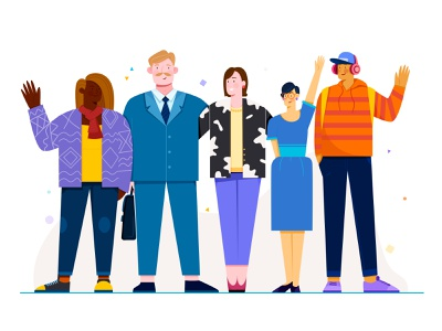 Reduce Bias collaboration team flat illustration vector company group person roles friends business work woman girl adobe illustrator uran boy man people character illustration
