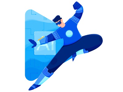 HONOR Play 4T - Illustration 3 kungfu pose space future superman cool flat illustration drawing chip technical ai honor huawei affinity designer uran boy man people character illustration