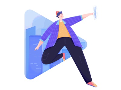 HONOR Play 4T - Illustration 4 cityscape vector flat illustration honor huawei technical future touch landscape building city affinity designer uran boy man people character illustration